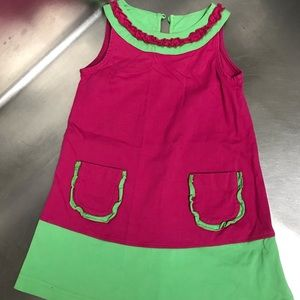 Hanna Andersson Girls Green & Pink Dress - Size 90